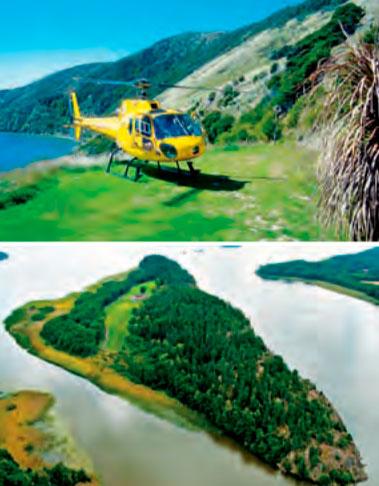 Privilégio O Te Paruparu Lodge (no alto), na ilha de Forsyth, na Nova Zelândia, oferece passeios de helicóptero. Acima, ilha no lago Mälaren, na Suécia, à venda por 6 milhões de euros