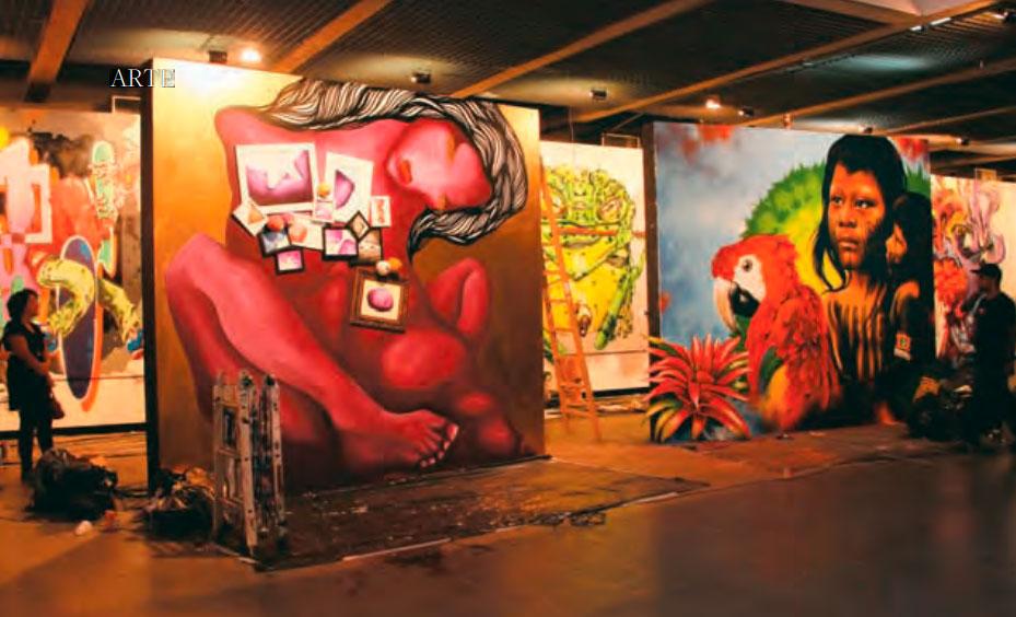 Acima, um dos espaços da Bienal do Grafite deste ano: mais de 50 artistas, entre brasileiros e estrangeiros