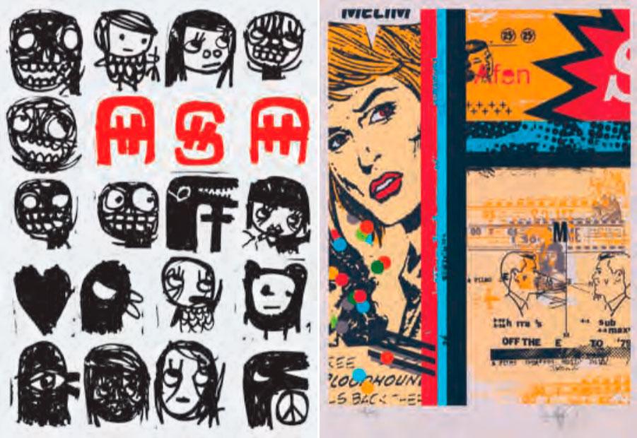 """serigrafias """"ASA"""" (à esq.), de Carlos Dias, e """"Sem Título"""", Daniel Melim, representados pela Choque Cultural, a primeira galeria da capital paulista dedicada à arte urbana"""