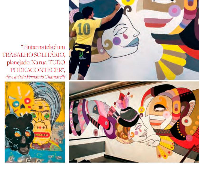Acima, o paulistano Fernando Chamarelli na reta final de seu mural para o Sesc Consolação. Na foto menor, obra de Tomas Spicolli, um dos artistas presentes na edição de 2013 da Feira PARTE